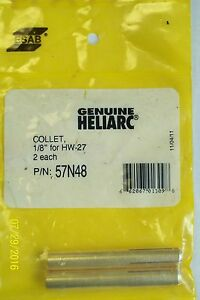 2 Pack New Genuine Heliarc Brass Collet 1 8 For Hw 27 57n48