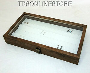 Rustic Brown Glass Top Jewelry Case With 90 Earring White Insert