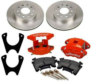 New Rear Brake Rotor weld on Bracket Wilwood Red D154 Caliper Set With Pads