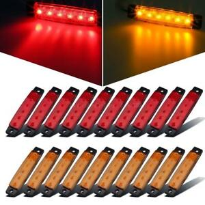 20x 3 8 Red Amber 6led Side Marker Light Indicators Truck Trailer Bus Universal