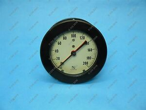 Vintage Ashcroft 4 1 2 Duplex Pressure Gauge 200 Psi Lower 1 4 Npt New