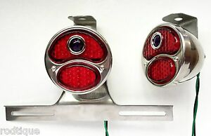 Led Blue Dot Stainless Taillights W Plate Light Bracket Universal Hot Rod