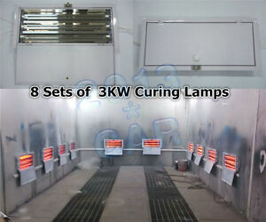 8 Sets X 3kw Spray Baking Booth Infrared Paint Curing Lamps Lights Heating Lamps