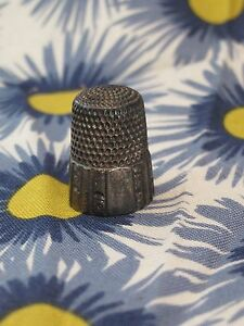 Victorian Simons Brothers Sterling Silver Thimble Panel Scroll Design Pat 1889