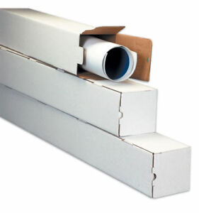 50 5 X 5 X 25 White Corrugated Square Mailing Tube Shipping Storage Tubes