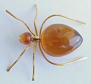 Russia Soviet Ussr Baltic Amber Gold Spider Brooch Silver Jewelry Pin Order