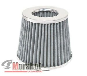 Chrome Silver Universal 4 Inch High Flow Cold Air Short Ram Intake Dry Filter