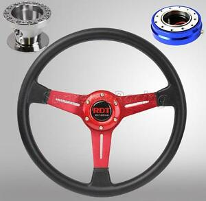 Red Steering Wheel Quick Release Blue Combo For Toyota Celica Corolla Cressida