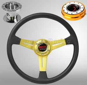 Gold Steering Wheel Hub Quick Release Combo Kit For Accord 90 93 Prelude 92 96