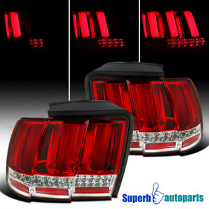 For 1999 2004 Ford Mustang Sequential Led Tail Lights Brake Lamp Red