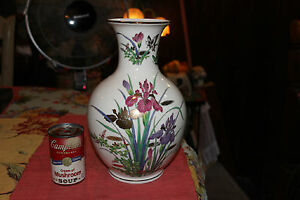 Superb Japanese Chinese Porcelain Vase W Flowers Butterflies Signed Bottom