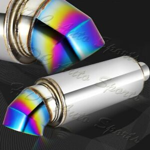 4 Cutter Knife Style Rainbow Tip Stainless Weld On Exhaust Muffler 2 5 Inlet