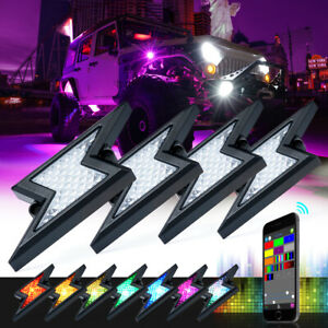 Xprite 4pc Rgb Led Multi Color Offroad Rock Lights Wireless Bluetooth Truck Jeep