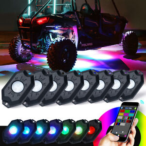 Xprite 8pc Rgb Led Multi Color Offroad Rock Lights Wireless Bluetooth Truck Jeep
