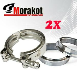 2x 2 5 Inch Turbo Exhaust Downpipe Piping Stainless Steel V band Clamp