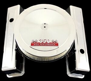 Chrome Tall Valve Covers And Red 350 Emblem Air Cleaner Combo For Chevy350 Sbc