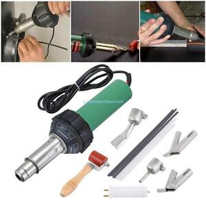 1500w Plastic Hot Air Heat Gun Gas Welder W Triangle round Speed Welding Nozzle