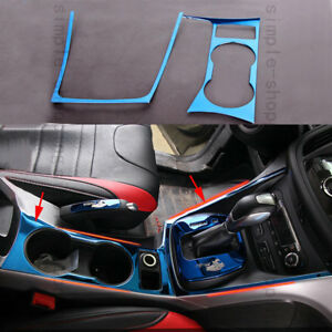 2pc Water Cup Holder gear Shift Panel Cover Trim Blue For Ford Escape Kuga 13 16