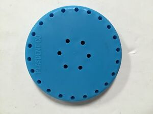 4x Plasdent Neon Blue Round Magnetic Dental Bur Block Holder Station 28 Holes