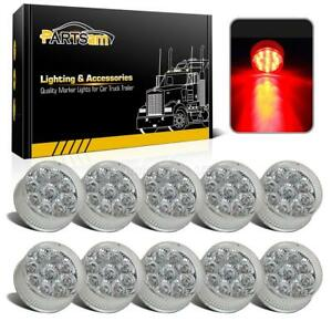 10x 2 Round Led Marker Light Clear red 9led W Flower Petal Look Trailer Lights