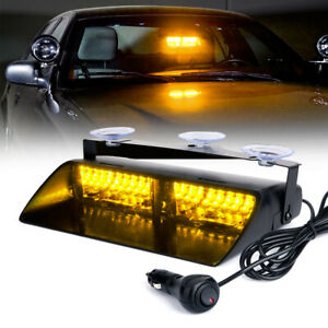 16 Led Windshield Emergency Flashing Strobe Light For Interior Dash Yellow Amber