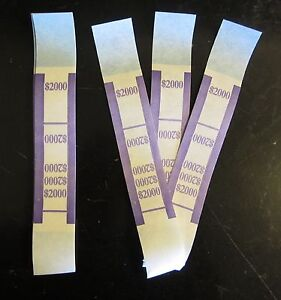 4000 Self Sealing Purple 2000 Currency Straps Money Bill Bands Pmc Brand Band