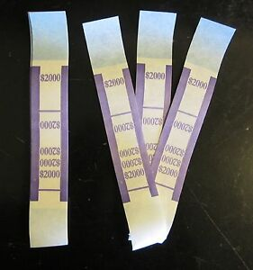 5000 Self Sealing Purple 2000 Currency Straps Money Bill Bands Pmc Brand Band