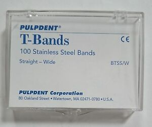 Pulpdent T bands Btss w 200 Pk Stainless Steel Dental Bands Straight Wide Fda