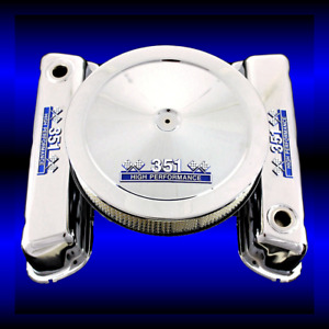 Chrome 351 Windsor Valve Cover And Air Cleaner Fits Ford 351 With 351 Hp Emblems