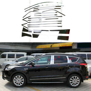 24pcs Steel Window Door Around Sill Covers Trim Kit For Ford Escape Kuga 13 15