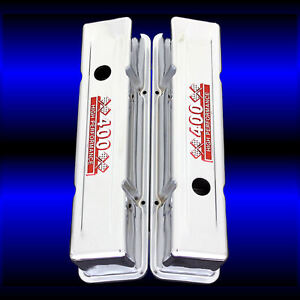Chrome Tall Valve Covers Fits Small Block Chevy 400 Engines Emblems Red
