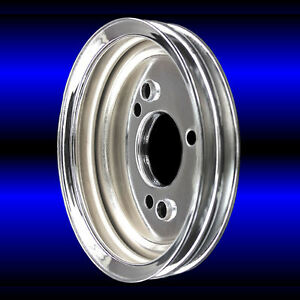 Chrome Crankshaft Pulley For Big Block Chevy Engines 396 427 454 Bbc 2 Groove