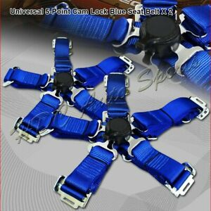 2 X Jdm 5 Point Cam Lock Blue Nylon Safety Harness Racing Seat Belt Universal 1