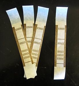 6000 Self Sealing Brown 5000 Currency Straps Money Bill Bands Pmc Brand Band
