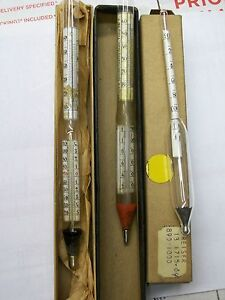 lot Of 3 Vintage Baume Specific Gravity Scale Hydrometer John Dolph Varnish