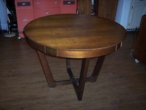 Rare Vintage Mid Century Danish Walnut Wood Dining Table W 2 Leaves