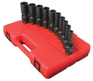 Sunex 10pc 1 2 Deep Sae 6pt Point Universal Impact Sockets Set Tools Drive 2659