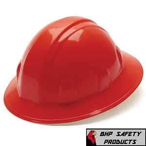 12 Hats Pyramex Full Brim Safety Hard Hat Red With 4 pt Ratchet Construction