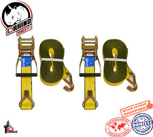 2 D Rhino Straps Hd 2 X 30ft Ratchet With J Hook Tie Down Towing Trailer
