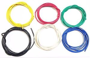 16 Ga Gauge Awg Black Red Yellow White Green Blue Car alarm Primary Wire 12v 30