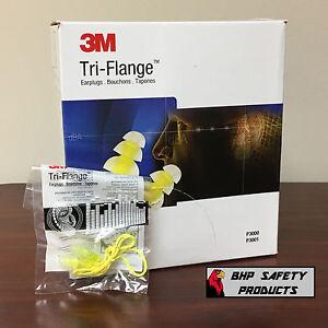 3m Peltor Tri Flange Reusable Ear Plugs With Cord P3001 Yellow 100 Pair Box