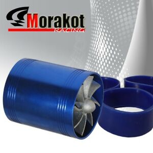 New 3 Tornado Turbonator Intake Dual Fan Gas Fuel Saver Supercharger Blue 6 Hp