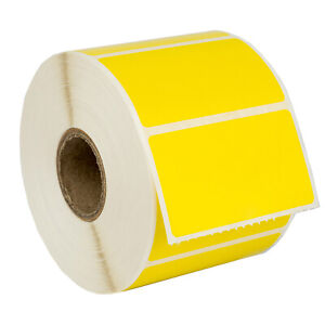 Zebra 2 25 X 1 25 Yellow Color Direct Thermal Labels 1 Roll Lp2824 Zp450 Lp2844