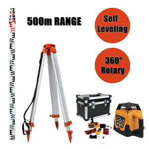 Red Totally Auto controlled Rotary Laser Level Goggle With 1 65m Tripod 5m Staff