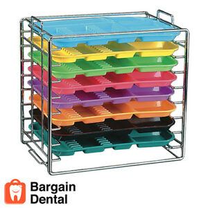 Plasdent Dental Medical Chromed Steel Instrument Tray Rack 8 Position Size B
