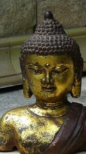 Antique 18c Tibetan Mold Cast Iron Buddha Head With Gilt Polychrome Application