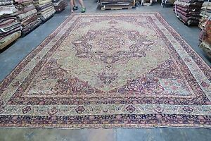 Antique Fine Hand Knotted Wool Persian Lavar Kerman Kermanshah Rug 10 8 X 15 9