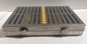 Dental Surgical 10 Instruments Sterilization Cassette Tray Rack Case Yellow
