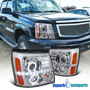 For 2002 2006 Cadillac Escalade Led Dual Halo Projector Headlights Head Lamps