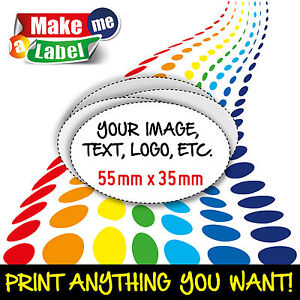 Oval Self Adhesive Custom Printed Full Colour Sticky Labels Large